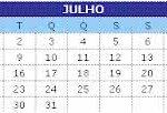 calendario julho 150x102 Calendário Abril   Feriados, Datas Comemorativas